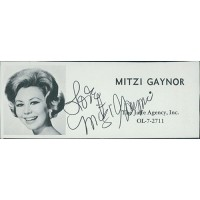 Mitzi Gaynor Actress Signed 2x4.5 Directory Cut JSA Authenticated