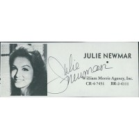 Julie Newmar Actress Signed 2x4.5 Directory Cut JSA Authenticated