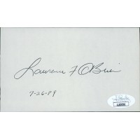 Lawrence Larry F. O'Brien Postmaster NBA Signed 3x5 Index Card JSA Authenticated
