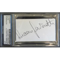 Luciano Pavarotti Opera Singer Signed 2x3.5 Cut Card PSA/DNA Authenticated