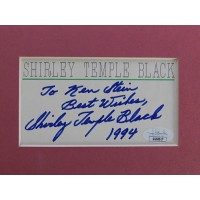 Shirley Temple Black Actress Signed 3x5 Cut Matted JSA Authenticated