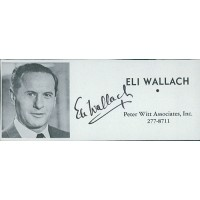 Eli Wallach Actor Signed 2x4.5 Directory Cut JSA Authenticated