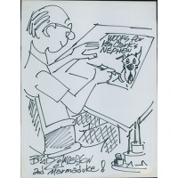 Brad Anderson Marmaduke Cartoonist Signed 8.5x11 Page Sketch JSA Authenticated