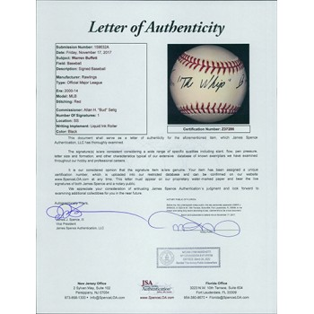 Warren The Whip Buffett Signed Official MLB Baseball JSA Authenticated
