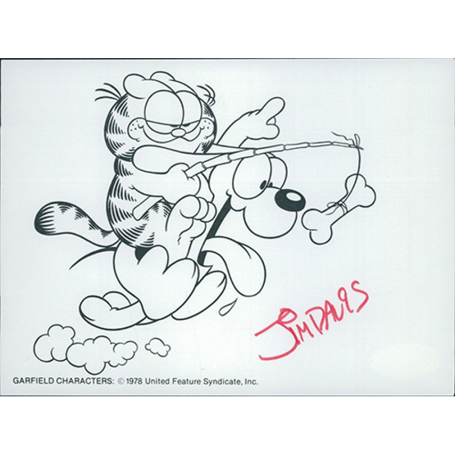 Jim Davis Garfield Cartoonist Signed 4 5x6 25 Card Stock Print Jsa Authenticated
