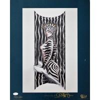Olivia De Berardinis Signed Zebra Lady III 16x20 Lithograph Art Poster JSA Authenticated