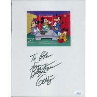 Bill Farmer Goofy Signed 8.5x11 Card Stock W/ 4x5 Stamp Label JSA Authenticated