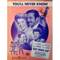 Alice Faye Signed You'll Never Know Sheet Music JSA Authenticated