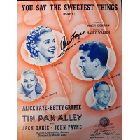 Alice Faye Signed You Say The Sweetest Things Sheet Music JSA Authenticated