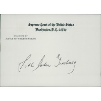 Ruth Bader Ginsburg Signed United States Supreme Court Card JSA Authenticated