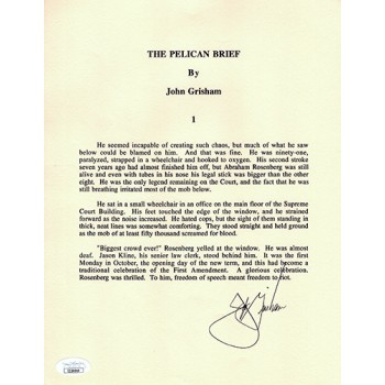 John Grisham The Pelican Brief Signed Souvenir Typescript Page JSA Authenticated