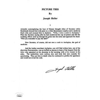 Joseph Heller Picture This Signed Souvenir Typescript Page JSA Authenticated