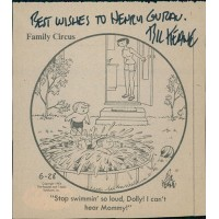 Bil Keane Family Circus Cartoonist Signed 3.5x4 Newsprint Cut JSA Authenticated