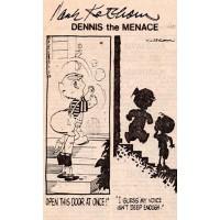 Hank Ketcham Dennis The Menace Signed 3x4.5 Comic Strip Cut JSA Authenticated