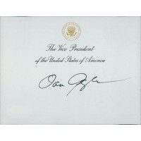 Dan Quayle Vice President Signed 4.25x5.5 Official Seal Card JSA Authenticated