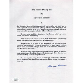Lawrence Sanders The Fourth Deadly Sin Signed Souvenir Typescript JSA Auth.