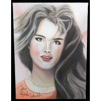 Brooke Shields Signed 12x16 One Of A Kind Hand Painted Canvas JSA Authenticated