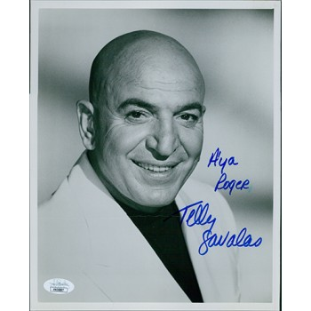 Telly Savalas Actor Signed 8x10 Glossy Photo JSA Authenticated