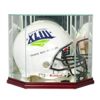 Deluxe real glass full size helmet octagon display