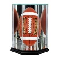 Deluxe real glass full size football upright octagon display