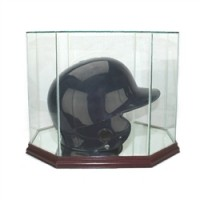 Deluxe real glass full size baseball helmet octagon display