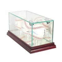 Deluxe real glass triple baseball display