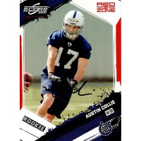 Austin Collie Colts Signed 2009 Score Inscriptions Red Zone Card #310 28/30