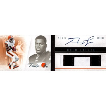 Greg Little Browns Signed 2012 Panini Playbook Rookie Patch Card 22/25 #114