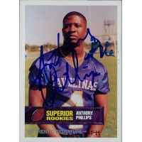 Anthony Phillips Texas A&M 1994 Superior Rookies Autographed Card /5000 #32