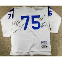 Los Angeles Rams Fearsome Foursome Deacon Jones, Merlin Olsen, Rosey Grier and Lamar Lundy Signed Throwback Jersey JSA Authenticated LOA