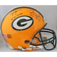 Green Bay Packers Brett Favre and Bart Starr Signed FS Authentic Helmet TRISTAR