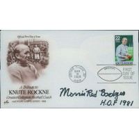 Morris Red Badgro Signed Tribute To Knute Rockne FDI Cachet JSA Authenticated