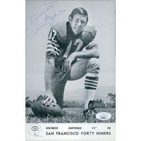 John Brodie San Francisco 49ers Signed 6x9 Postcard JSA Authenticated