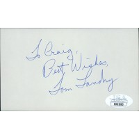 Tom Landry Dallas Cowboys Football Coach Signed 3x5 Index Card JSA Authenticated
