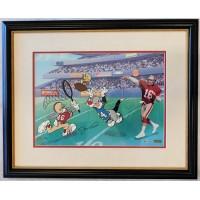 Joe Montana Signed Catch The Birdie Animation Cel 750 Upper Deck Authenticated