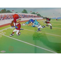 Joe Montana Woody Woodpecker Signed First and Ten Litho Upper Deck Authenticated