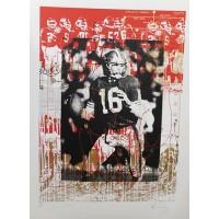 Joe Montana San Francisco 49ers Signed 33x44 Lithograph JSA Authenticated