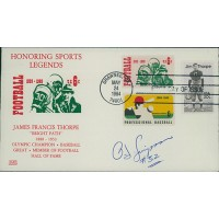 O.J. Simpson Signed Honoring Sports Legends Football Cachet JSA Authenticated