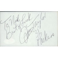 Jim Taylor Football Player Signed 3x5 Index Card JSA Authenticated