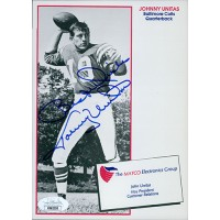 Johnny Unitas Baltimore Colts Signed 5x7 Promo Photo JSA Authenticated