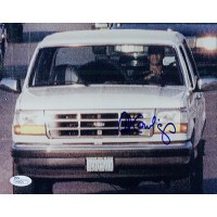 Al Cowlings Signed Up Close 8x10 Photo Of Al Driving OJ'S White Bronco JSA Authenticated