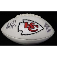 Kansas City Chiefs Alex Smith and Justin Houston Signed Logo Football JSA Authenticated