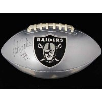 Bob Golic Oakland Raiders Signed Black Logo Silver Football JSA Authenticated