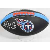 Marcus Mariota Tennessee Titans Signed Logo Black Football Beckett Authenticated