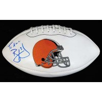 Brandon Weeden Cleveland Browns Signed White Panel Logo Football PSA Authenticated