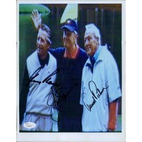 Arnold Palmer, Gary Player, Jack Nicklaus Signed 8x10 Photo JSA Authenticated