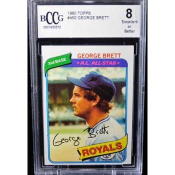 George Brett Kansas City Royals 1980 Topps Card #450 Beckett BCCG 8 Excellent