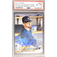 Nicholas Castellanos Signed Auto 2018 Topps Card #545 PSA Graded 8 NM-MT LE 3/5