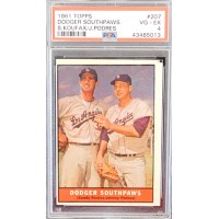 Dodgers Southpaws Sandy Koufax and Johnny Podres 1961 Topps #207 PSA 4 VG-EX
