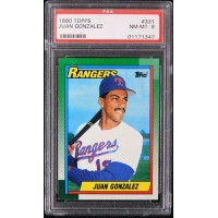 Juan Gonzalez Texas Rangers 1990 Topps Card #331 PSA 8 NM-MT
